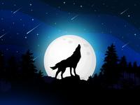 Lone Wolf monocolor blue sky trees wolf flat vector illustration dribbled digital art design concept art colorful