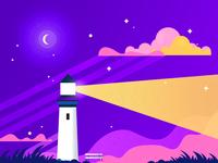 Light House colorful light stripes stars night light house illustration adobe photoshop adobeillustator