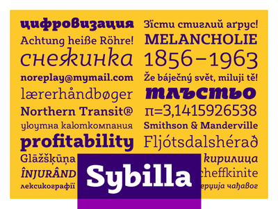 Sybilla - Humanist slab bulgarian cyrillic display egyptian friendy headline humanist slab serif upright cursive kateliev