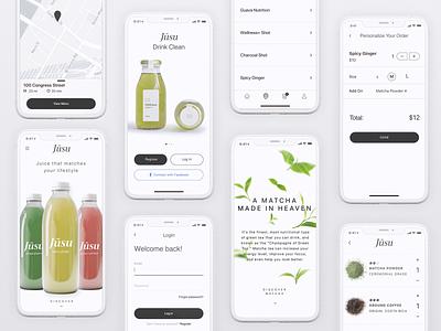 Jusu mobile mobile ordering concept app juice sketch libraries design systems sketch