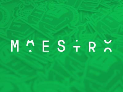 Maestro wordmark stickermule slot machine random gt pressura mono logo spotify slack integration crispyfi branding bot automation
