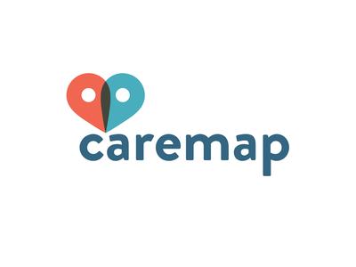 Caremap Logo carekit medical pin map logo heart health tech health branding