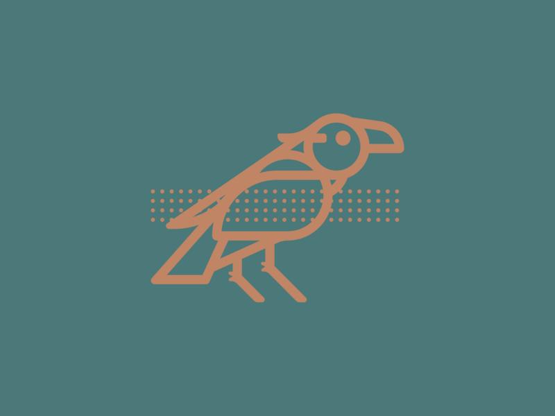 Raven asheville craftsman illustration thick lines branding raven bird logo