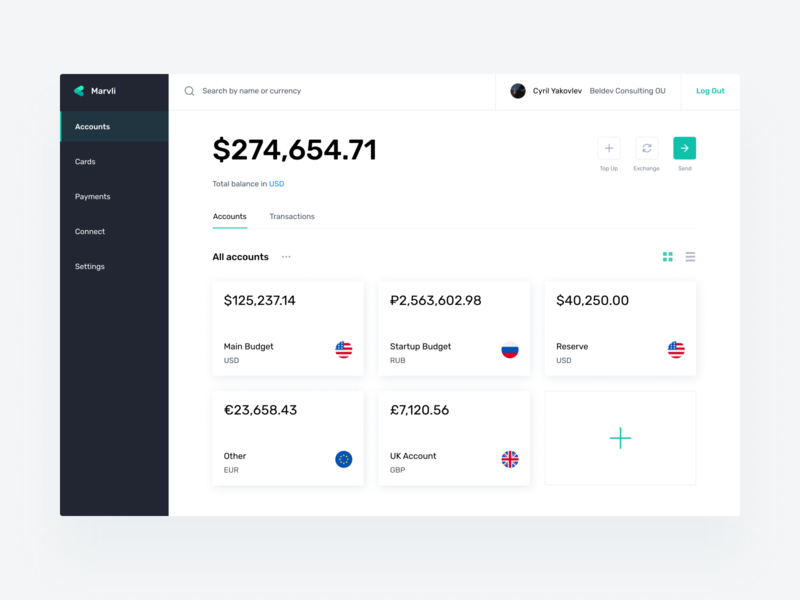Accounts Finance Dashboard finance app uiux product design finance design app ui