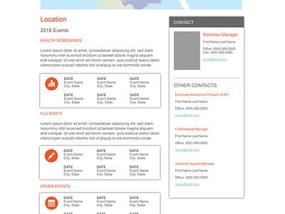BNSF Railroad Health Events Mock html5 css3 ui web design
