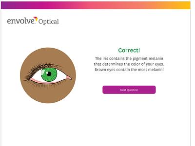 Envolve Optical - Quiz Correct Answer Page animation design css3 html5 ui web design