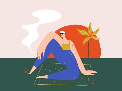 Van Der Pop palm tree relax photoshop canabis design woman character design illustration art direction