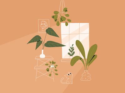 Green Corner plants design art direction character design photoshop illustration design afternoon greens plant cat illustration illustrator