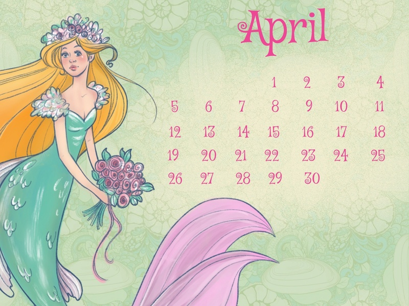 mermaid april calendar procreate sketch mermaid
