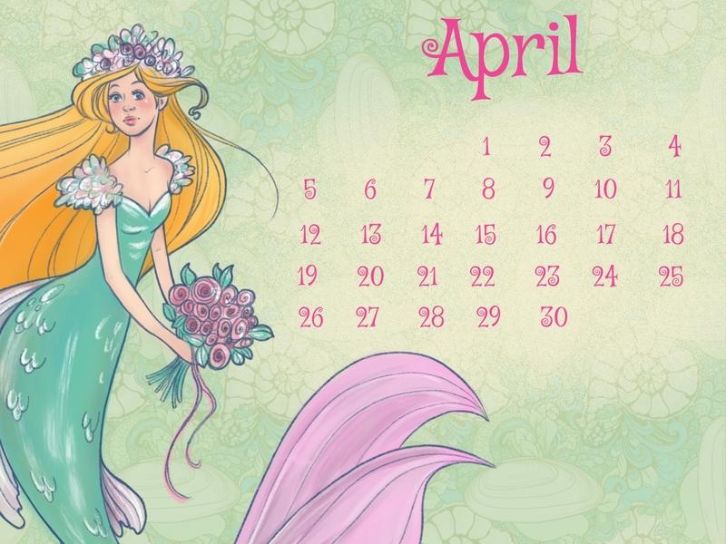 mermaid april calendar procreate sketch mermaid