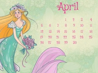mermaid april calendar
