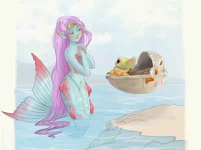 MerMay The Fourth mermay procreate sketch characterdesign illustration mermaid baby yoda yoda the child mandalorian