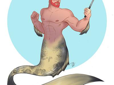 Merman Shellfie sketchbook pro character design selfie beard rainbow hair mythical merman