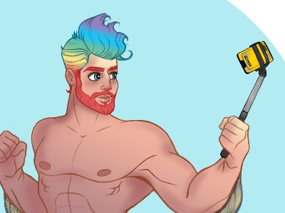 Merman Shellfie sketchbook pro character design selfie beard rainbow hair mythical merman