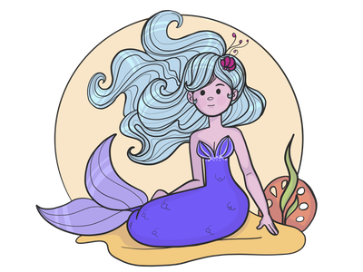 Little blue haired mermaid adobe draw mermaid