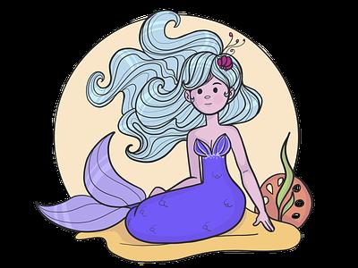 Little blue haired mermaid adobe draw mermaid
