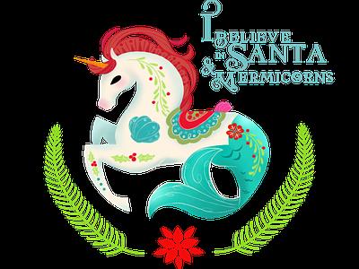 Christmas Mermicorn illustration sketch character hippocampus mermicorn mermaid unicorn christmas