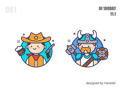 Cowboy and Vikings illustration design ui icon