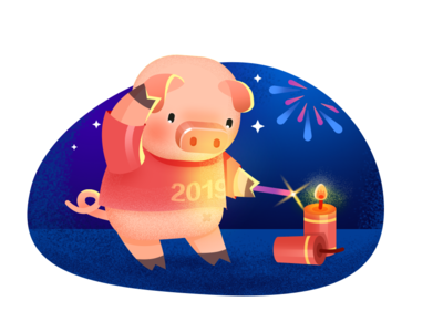 pig with firework