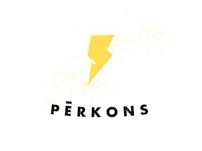 The Thunder | Pērkons shape line badge shadow flat lightning yellow old mark thunder logo