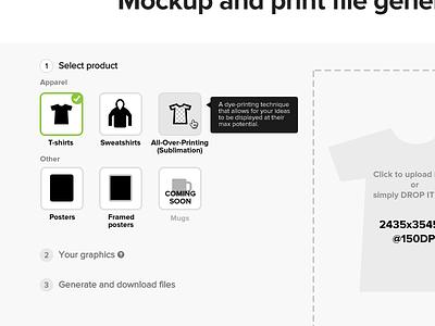 Mockup and print file generator ~ 2.0 proxima nova tshirt print blackandwhite ui web