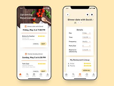 Earlybird: A Restaurant Reservations App schedule plan reserve reservations restaurant app restaurant mobile app app  design app ui
