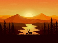 Deers and the Landscape