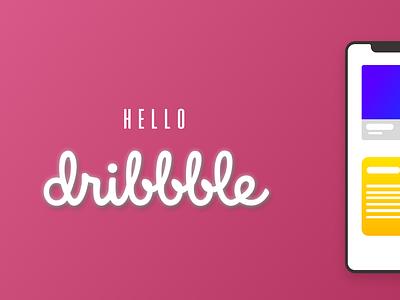 Hello Dribble graphic design blue illustrator website art animation ui typography type mobile minimal lettering ios illustration flat design clean app