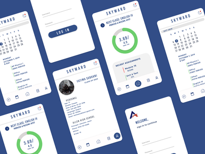 Skyward Redesign blue ui app type mobile minimal ios flat design clean
