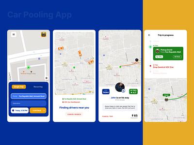 Car Pooling App - app to make shared commute easy pool car commute carpooling taxi carpool figma ui design app