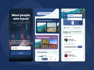 Travel mate - find people to travel with - (concept) group travel group trip travel app travelling trip trips group travel figma ui design app