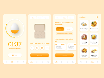 Egg Timer and Delivery App Concept cook recipe recipes cooking timer delivery app deliver delivery egg eggs figma ui design app