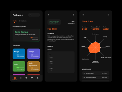 Coding Platform App - Concept game rank score skill learning competitive programming platform programmer programming code coding ui design ui figma design app