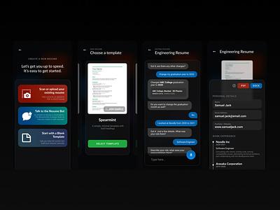 Resume Builder App Concept college tool generator builder portfolio job jobs resume mobile mobile design ui design figma design app