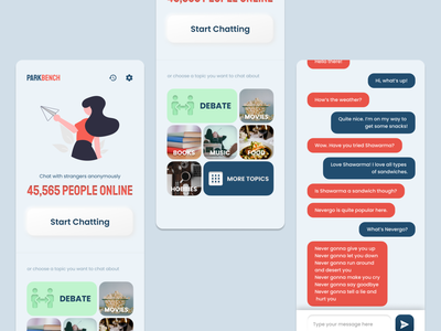 Chat App to talk to people online - Concept chat application anonymous chatting app omegle chat app chatting chat mobile ui design ui figma design app