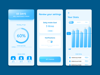 Water Reminder App Concept fitness health hydrate hydration water intake reminder drinking water mobile ui design ui figma design app