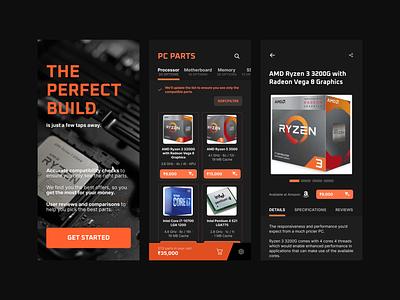 PC Part Selection App - Concept electronics shop ecommerce search finder pc parts picker picker components parts pc parts pc mobile ui design ui figma design app