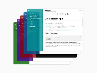 Text Editor - Concept glassmorphism linux mac windows minimalist draft markdown editor text desktop