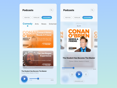 Podcast App Concept player listening app audio podcasts podcast fusion aero windows aero windows 7 retro glassmorphism mobile design mobile ui design ui design figma app
