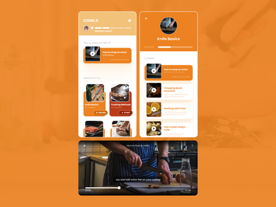 Cooking Learning App Concept learning app chef cooking app cook educational learning cooking mobile design mobile ui design ui design figma app