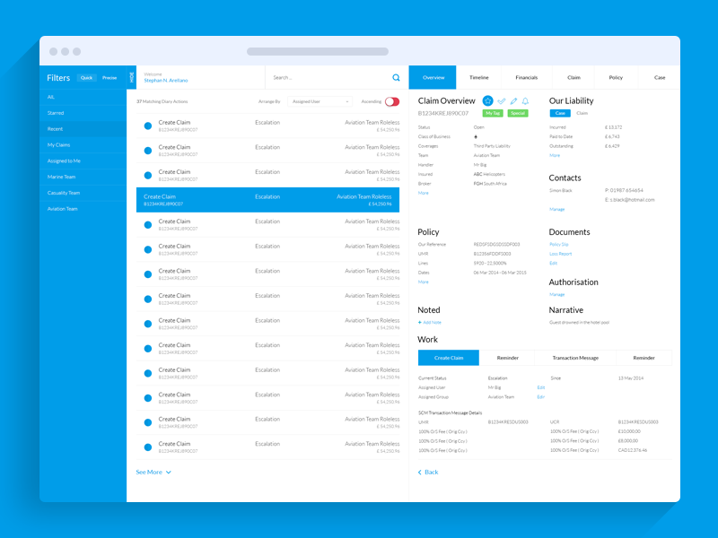 Insurers Claims Management System UIUX By George Moxeve