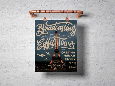 The Orbiting Human Circus of the Air Mock Up chalk radio poster design poster mockup france eiffel tower paris photography procreate vector typography hand lettering lettering design