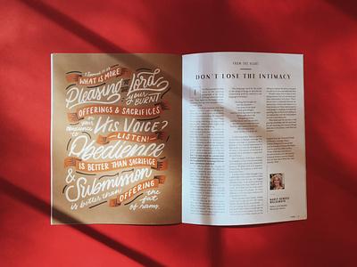 Revive Magazine Lettering 1 shadow cream orange red neutrals magazine design editorial design editorial magazine procreate illustration hand lettering lettering design