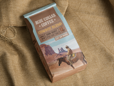 Blue Collar Coffee Cowboy Blend Packaging coffee bean coffee shop coffee cowboy packaging design packagedesign packaging branding badge procreate typography illustration hand lettering lettering design
