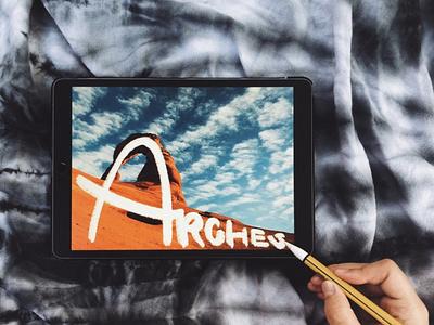 Wandering Wednesday | Arches desert blue orange tie dye texture rough chalk art travel hand lettering lettering design