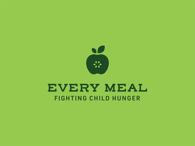 Every Meal lockup meal apple child hunger hunger non profit logo identity flat vector design branding