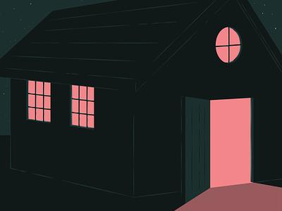 SPD Inspire Illustrations vector neighbor stars design article magazine shadow light dark nighttime night house illustration