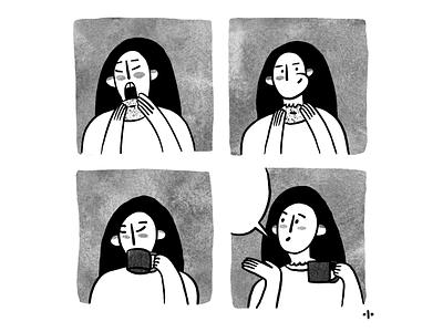work eating tea coffee girl me design illustration character art procreate procr illustrator work