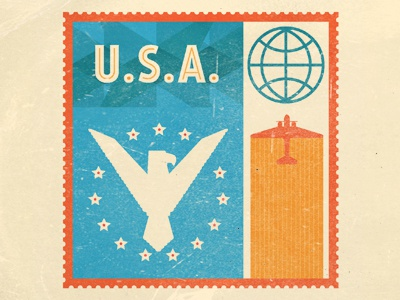 U.S.A Stamp album cd music cover plane flight crash vintage 50s album art