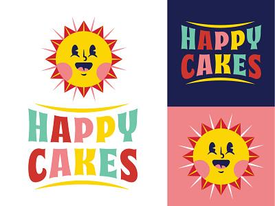 Happy Cakes joy happy sunshine sun illustrator logotype branding logo illustration